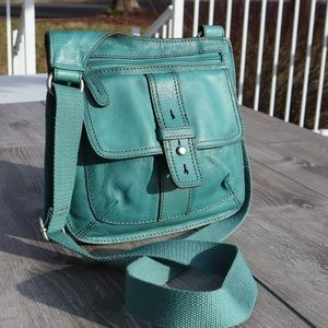 Fossil teal genuine leather crossbody purse tote